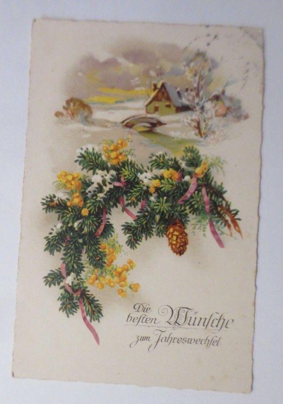 Neujahr,  Winterlandschaft, Haus, Tannenzweig, 1928  ♥ (60626)