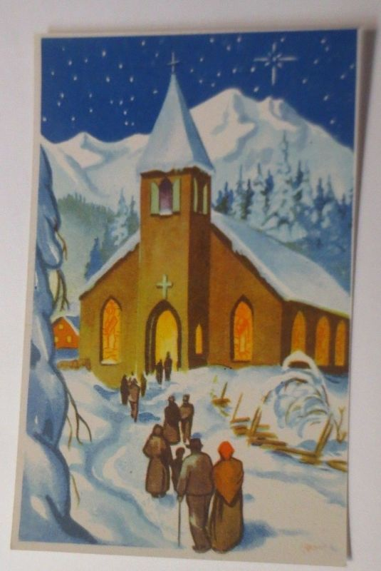 Neujahr,  Winterlandschaft, Kirche,  1930  ♥ (60363)
