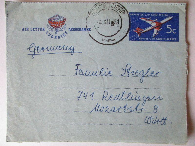 Südafrika, Aerogramm 1964 nach Reutlingen (60791)