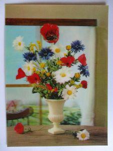 Blumen Pflanzen, 3 D Karte Flowers, Top Stereo ca.1990 (31554)
