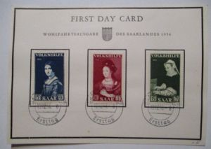Saarland 376-378 Volkshilfe, First Day Card 1956 (19308)