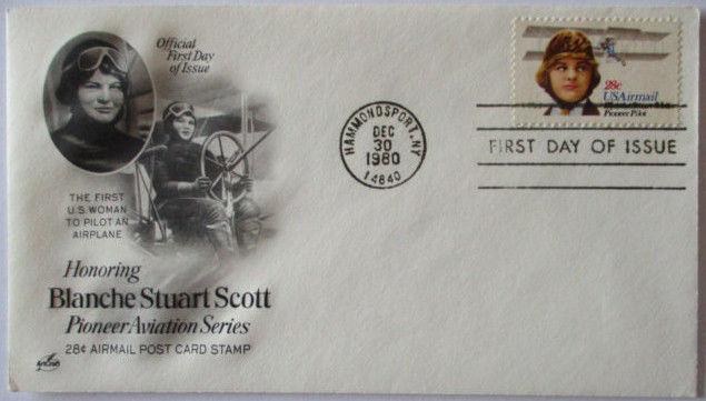 Air Mail Flugzeug Pionier Luftfahrt Blanche Stuart Scott, FDC USA 1980 (64143)