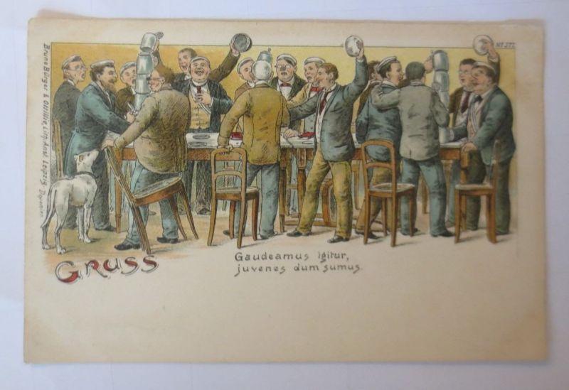 Studentika, Studenten mit Bierkrug es Feiern Jung und Alt, 1900, Litho ♥ (66925)