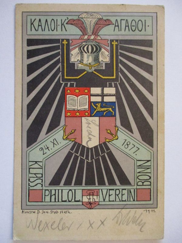 Studentika, Klassischer Philologen Verein Bonn, Kunstkarte 1911 (44563)