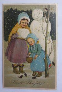 Neujahr, Kinder, Mode, Schneemann, 1905, Prägekarte, Marie Flatscher ♥ (65437)