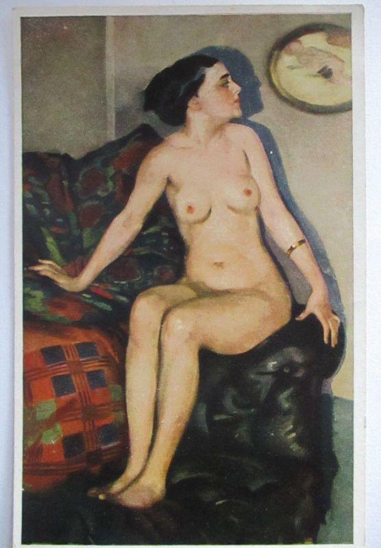 Erotik, Nackte Frau, Künstlerkarte Ernst Heilemann, Modellpause (66733)