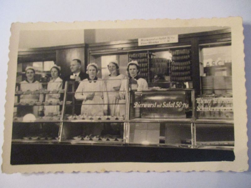 Berufe, Metzger, Fleischer, Geschäft, Fotokarte ca. 1950 (9486)