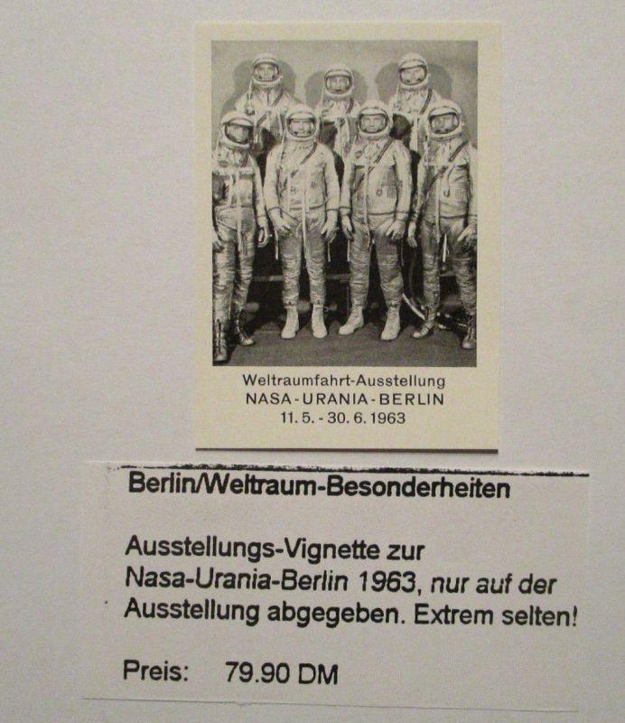 Weltraum Raumfahrt, NASA Urania Berlin 1963, postfrische Vignette (35037)