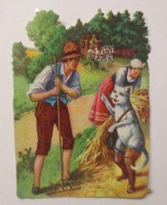 Oblaten, Märchen, Der Gestiefelte Kater,  1900,   8 cm x 6 cm ♥ (15208)
