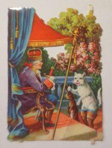 Oblaten, Märchen, Der Gestiefelte Kater,   1900,   8 cm x 6 cm ♥ (38004)