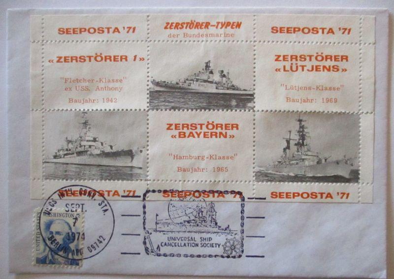 Bundesmarine, Zerstörer Typen, Vignettenblock 1971 (57321)