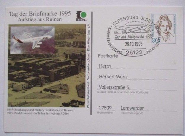 Bund, Ganzsache Flugzeug Airbus 1995, Sonderkarte (27956)