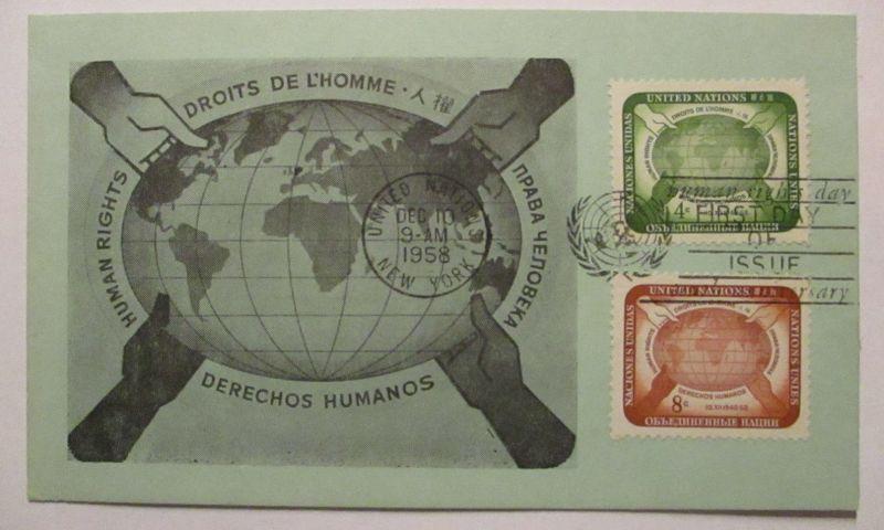 UNO New York, Menschenrechte, Maximumkarte 1958 (37473)