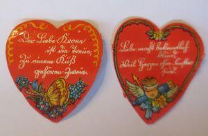 2. Oblaten, Herz, Spruch,    1900,  5,5 cm x 4 cm  ♥  (21343)