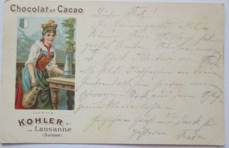 Werbung, Reklame, Chocolat et Cacao Kohler Lausanne, 1903 (23654)