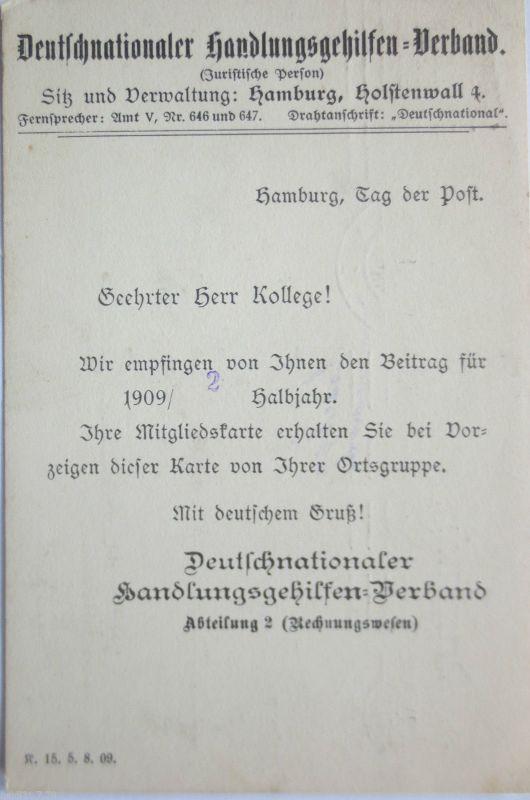 D.Reich, Deutschnationaler Handlungsgehilfenverband, 1909 aus Hamburg (8599)
