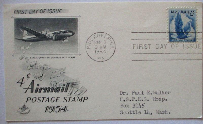 USA, Airmail FDC Karte 1954 (8249)