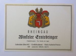 Weinetikett, Rheingau Winseler Erntebringer, Klein-Auheim 1960 ♥ (52342)
