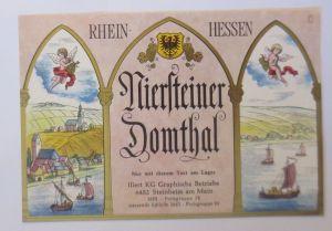 Weinetikett, Rhein-Hessen, Niersteiner Domthal, Klein Auheim, 1960 ♥ (1048)