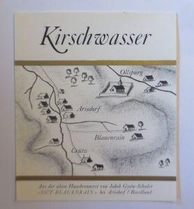 Schnapsetikett, Kirschwasser, Gut Blauenrain bei Arisdorf 1966 ♥ (66676)