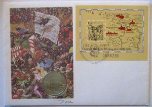 DDR Numisbrief Bauernkriege Thomas Münzer 1989 mit 5 Mark (27911)