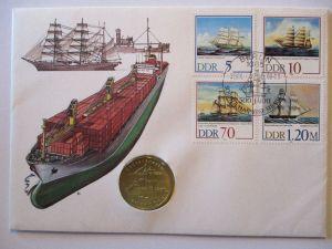 DDR Numisbrief Schiffe mit 5 Mark Sondermünze (57243)