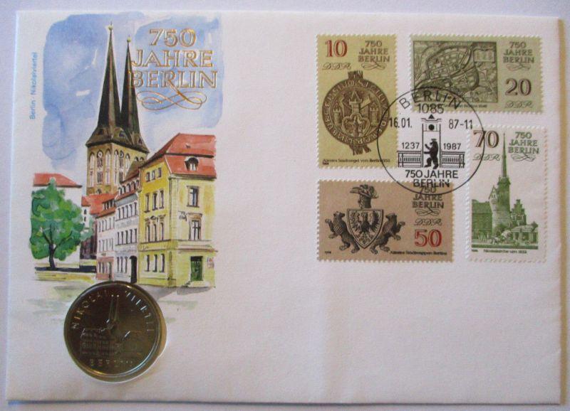 DDR Numisbrief 750 Jahre Berlin mit 5 Mark Sondermünze (39452)