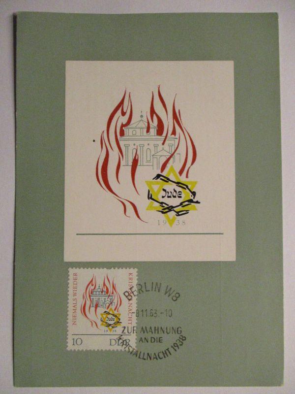 Judaika, DDR Maximumkarte Mahnung an die Reichskristallnacht 1938 (1794)