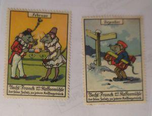 2. Reklamemarken, Aecht Frank  Kaffeemühle Personifizierte Mäuse 1910 ♥ (9562)