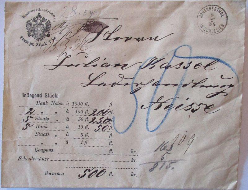 Österreich, gesiegelter Wertbrief 1894 aus Johannesthal in Schlesien (57305)