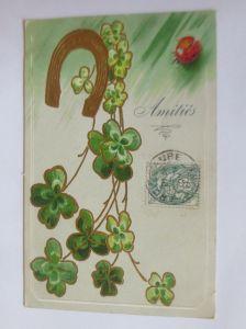 Geburtstag, Kleeblatt, Marienkäfer, Hufeisen,   1907,   Prägekarte  ♥  (29891)