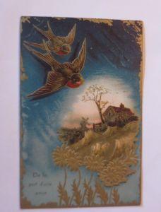 Geburtstag,  Vogel, Blumen, Haus, Landschaft, 1909,   Prägekarte ♥ (26889)