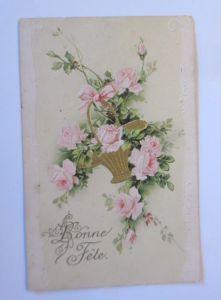 Geburtstag,  Blumen, Rosen, Korb, 1907,   Prägekarte  ♥ (14367)