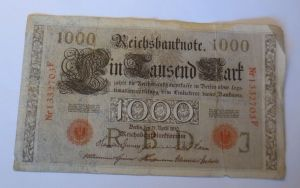 D.Reich 45d 1000 Mark  Buchstabe F,    4 April 1910 J ♥   (62916)