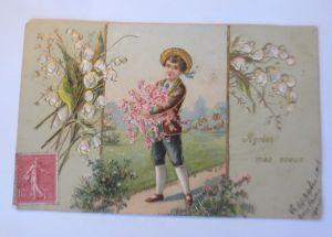 Geburtstag, Kinder, Blumen, Maiglöckchen,    1900,   Prägekarte ♥ (22488)