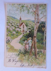 Pfingsten, Männer, Frauen, Kirche, Landschaft,   1904, Golddruck  ♥ (65148)