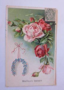 Blumen, Rosen, Hufeisen,    1907, Prägekarte  ♥ (2318)