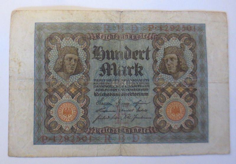 Geldschein,  Reichsbanknote, Hundert Mark  1920   ♥  (57373)