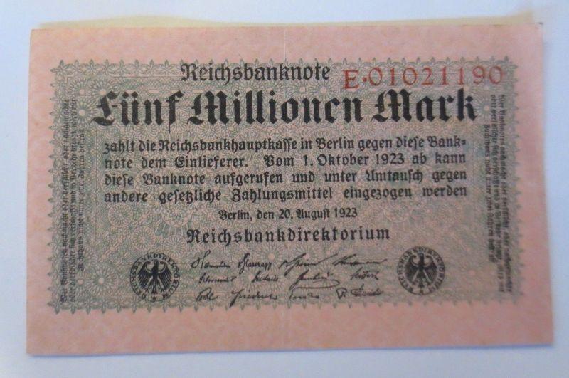 Geldschein,  Reichsbanknote, Fünf Millionen Mark 1923, E.   ♥  (52110)