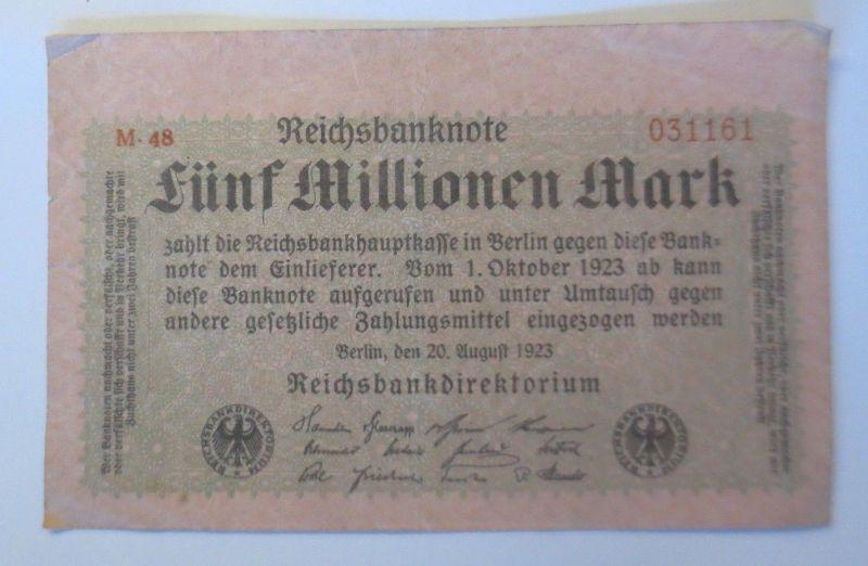 Geldschein,  Reichsbanknote, Fünf Millionen Mark 1923, M. 48  ♥  (17085)
