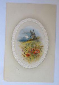 Künstlerkarte, Landschaft, Windmühle, Mohnblumen,   1910,  Prägekarte ♥ (46498)