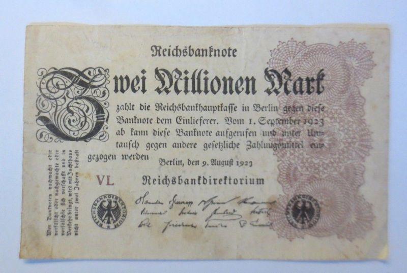 Geldschein,  Reichsbanknote, Zwei Millionen Mark, VL. 1923 ♥  (21356)