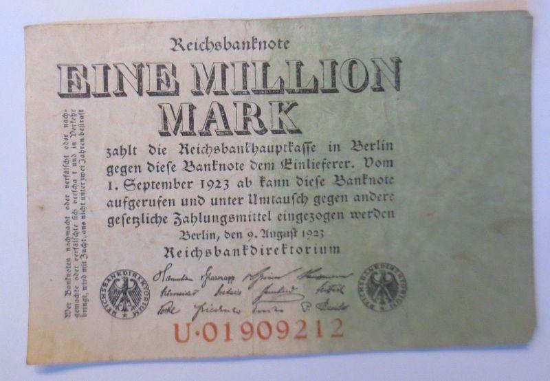 Geldschein, Eine Million Mark,  U.01909212,   1923 ♥  (34818)