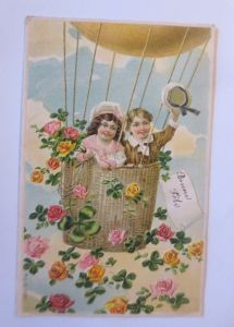Neujahr, Heißluftballon, Kinder, Kleeblatt, Rosen,  1909,  Prägekarte ♥  (167)
