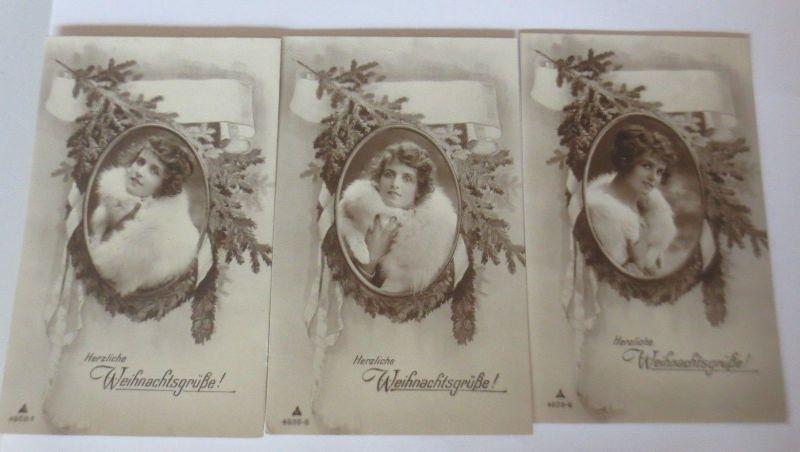 3. Weihnachtskarten, Frauen, Mode, Tannenzweig, ca. 1920 ♥ (16285 ...