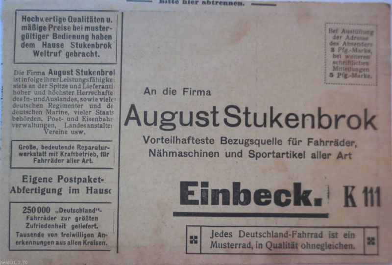 Fahrrad, Werbekarte August Stukenbrok, ca. 1910 (22467)