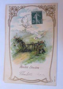 Geburtstag, Landschaft, Tauben,  Brieftauben, 1910,  Prägekarte ♥  (3670)