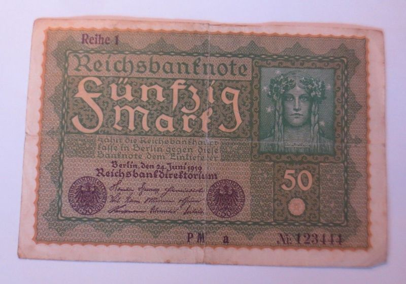 Reichsbanknote 50  Mark,  24 Juni 1919, Reihe 1 PM  a  ♥ (57226)