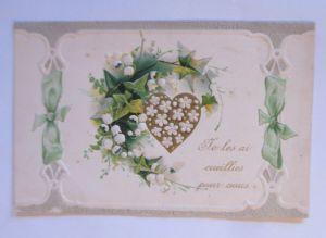Geburtstag, Blumen, Herz, Maiglöckchen, Efeu,   1909,  Prägekarte ♥ (41804)