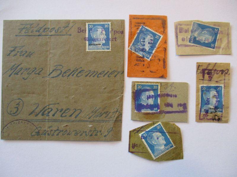 Bei der Feldpost eingeliefert, 1 Paketadresse Ostland und 5 Briefstücke (48027)